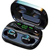 Luisport Bluetooth Headphones True Wireless Earbuds TWS Wireless Headphones Bluetooth Earphones with LED Battery Display Wireless Earphones with Charging Case Stereo Sound (S11-Black)