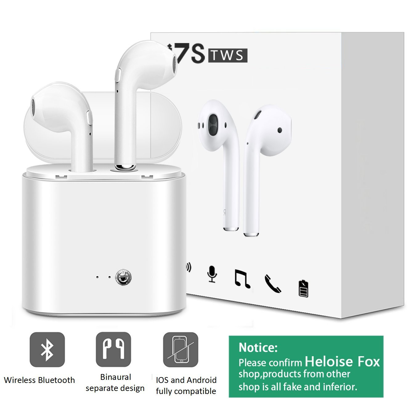 Bluetooth Earbuds, Wireless in-Ear Headphones Hands Free with Portable Charger for iPhone X, 8, 8plus, 7, 7 Plus, 6s, Samsung Galaxy, iOS, Android Smart Phones