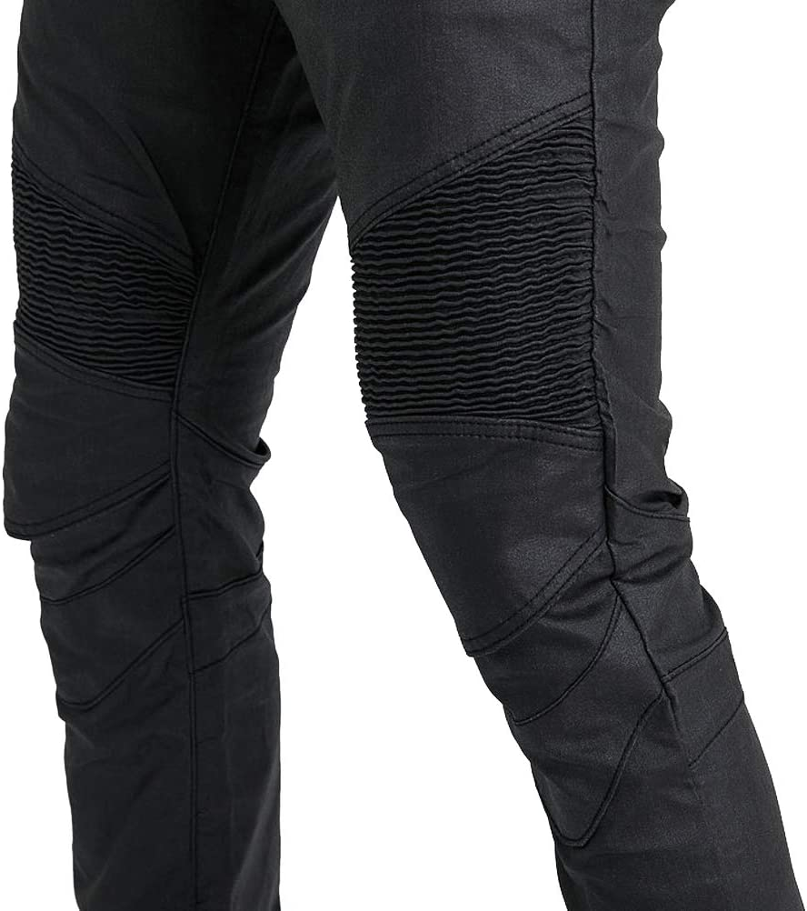 26 Black =Waist 30 XS Coated Waterproof Motorcycle Riding Pants with Upgrade Armor Knee Hip Protector Pads