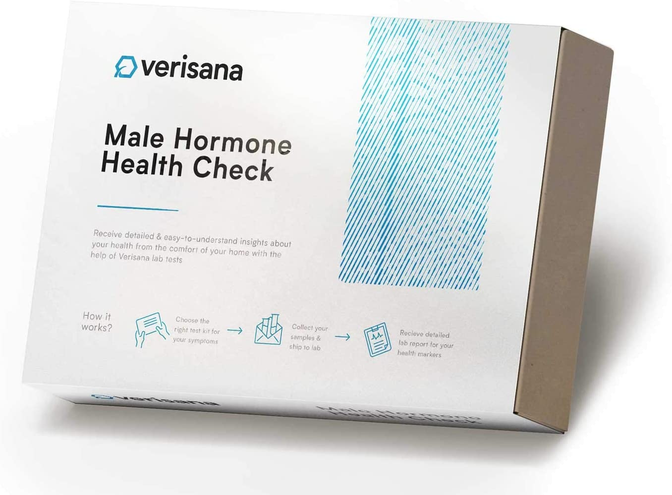Male Hormone Health Test – Measure 5 Hormones (T, Pg, C, E2, D) with Simple Saliva Test – at-Home Check for Hormonal Imbalances – Verisana