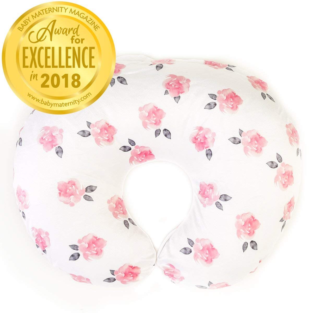 Minky Nursing Pillow Cover - Slipcover ONLY - Peony Slipcover - Best for Breastfeeding Moms - Soft Fabric Fits Snug On Infant Nursing Pillows to Aid Mothers While Breast Feeding by Kids N' Such