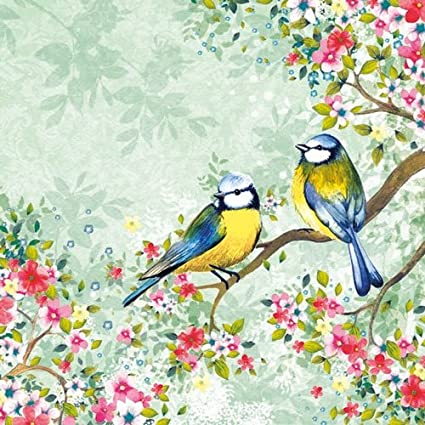 3x Single Paper Napkins For Decoupage Craft Colorful Flowers Bird Medallion M538
