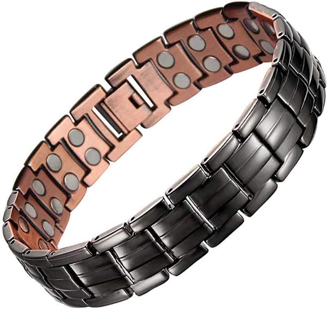 Feraco Magnetic Bracelets for Mens Copper Bracelet with Double Row Magnets Classic Black 99.99% Pure Solid Copper Jewelry