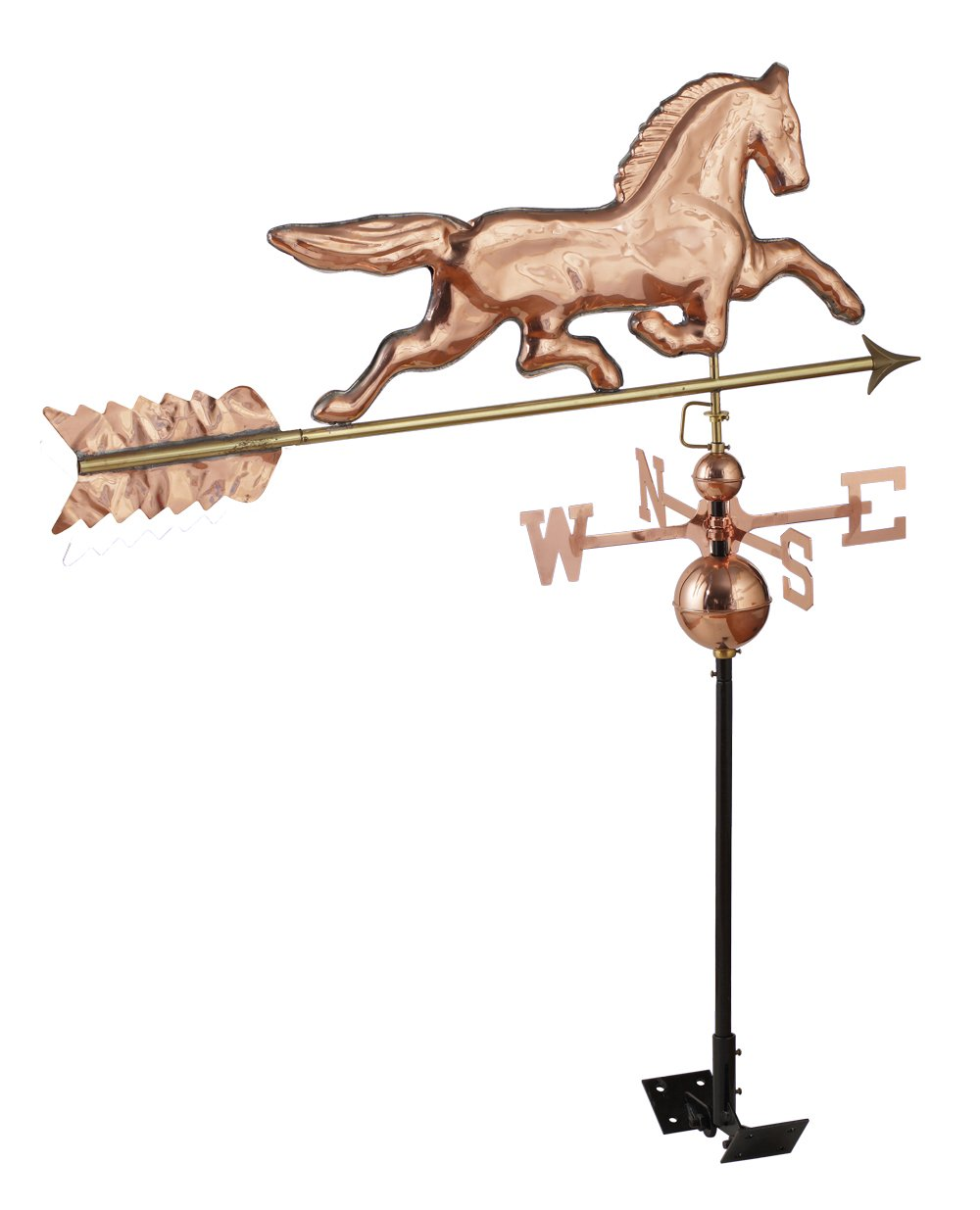 RUDY HARDWARE Stunning Full Size Polished Copper Trotting Horse Weathervane with Adjustable Roof Mount, Increase Curb Appeal for Home, Barn, Shed or as Garden Decor