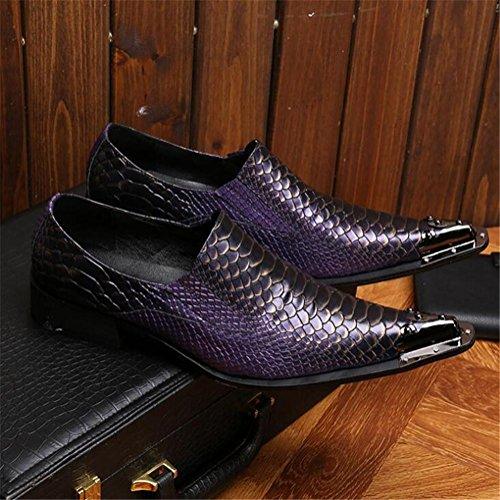 metal Mocasines On Moda Negocio Puntiagudo Serpentina Club a Cuero de 45 hombre Boda Puntera 38 y Formal de Slip Vistoso Vestir Zapatos Tamaño occidental wq0vfyOq