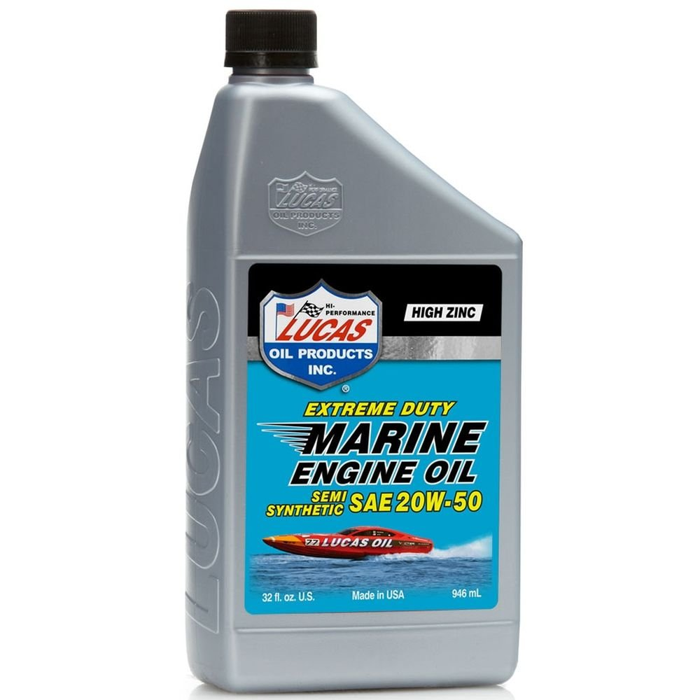 Lucas Oil 10654 SAE 20W-50 Semi-Synthetic Marine Engine Oil, 1 Quart, (Case of 6)