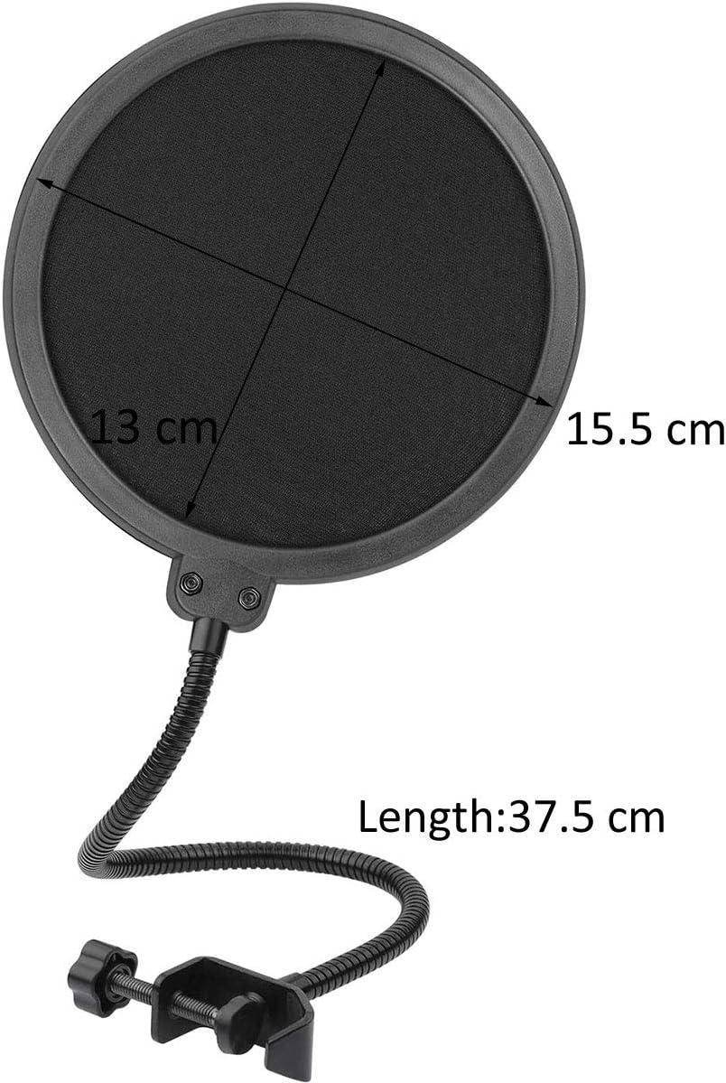 Noir double couche de protection de son Filtre micro pop pivotant