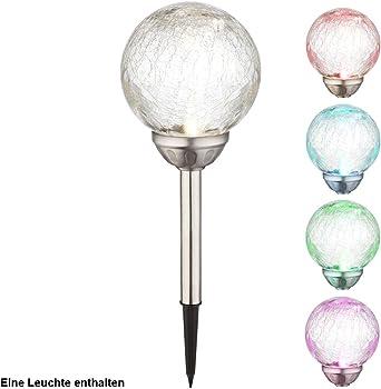 LED Solar Kugel Steck Lampen Außen Strahler Garten Design Leuchten Erdspieß RGB