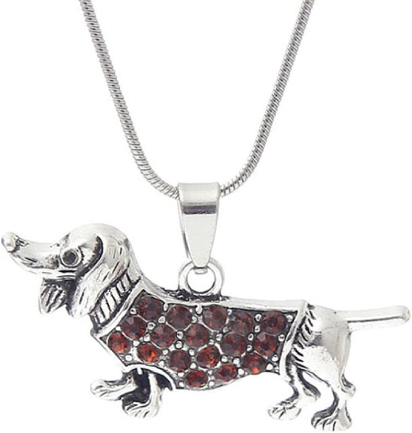 Animal Rescue Worker From the Heart Dachshund Dog 18 Necklace is Embellished in Brown Crystal Rhinestones.Perfect Gift for Your Vet or Weenie Dog Mom