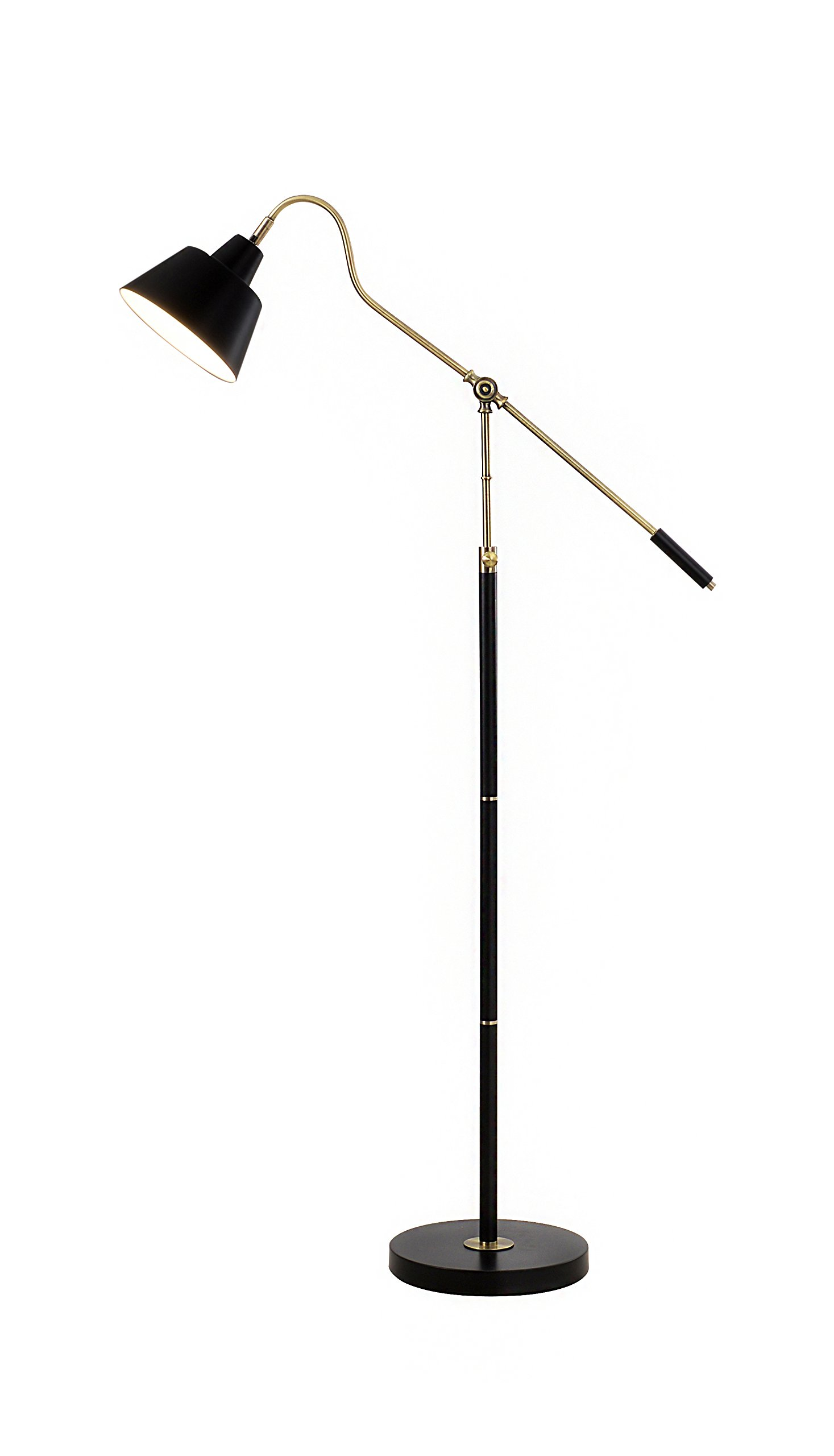 Catalina 19945-001 Nelson 60.25-Inch Adjustable Antique Brass and Matte Black Metal Floor Lamp, Bulb Included