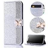Stysen Galaxy S6 Edge Wallet Case,Bling Silver Bookstyle with Strass Butterfly Bowknot Buckle Protective Wallet Case Cover for Samsung Galaxy S6 Edge-Diamond,Silver