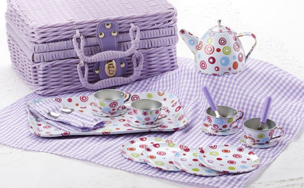 Delton Products Tin 20pc Tea Set in Basket, Polka,Purple 8000-3