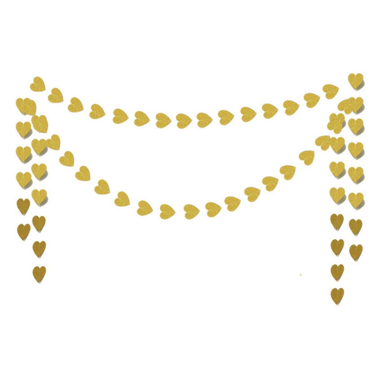 10フィートペーパーハートガーランド、Hearts Hanging Decorations、ウェディング、ベビーシャワー、クリスマス装飾、パーティー小道具(ゴールドグリッター) B077M27V64