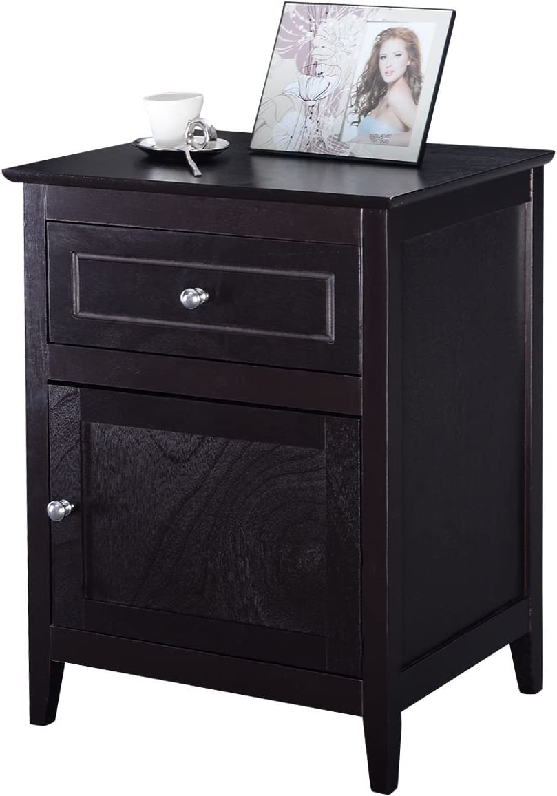 Casart End Table Living Room Modern Wood Night Stand Door Storage Cabinet Furniture with Drawer Espresso