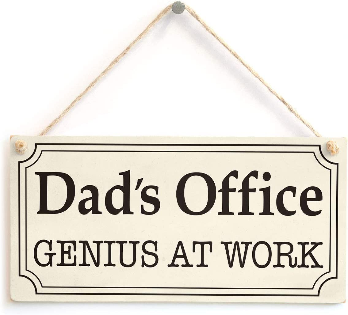 "Meijiafei Dad's Office Genius at Work - Home Office Sign 10"" X 5"""
