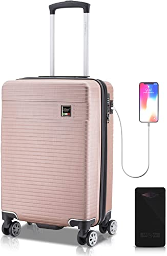 VILLAGIO Hardshell Polycarbonate Carry On With USB Port Bundle With Black 10000mAh Power Bank Solaris Pink