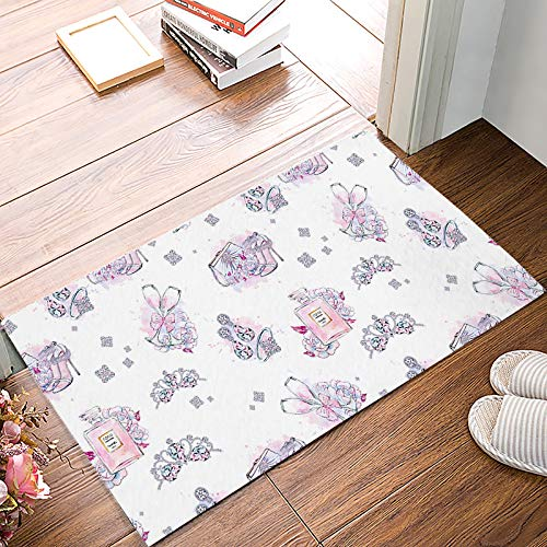 Family Decor Non-Slip Welcome Doormat Perfume Jewelry High Heels Dirt Trapper Inside Outside Doormats 15.7