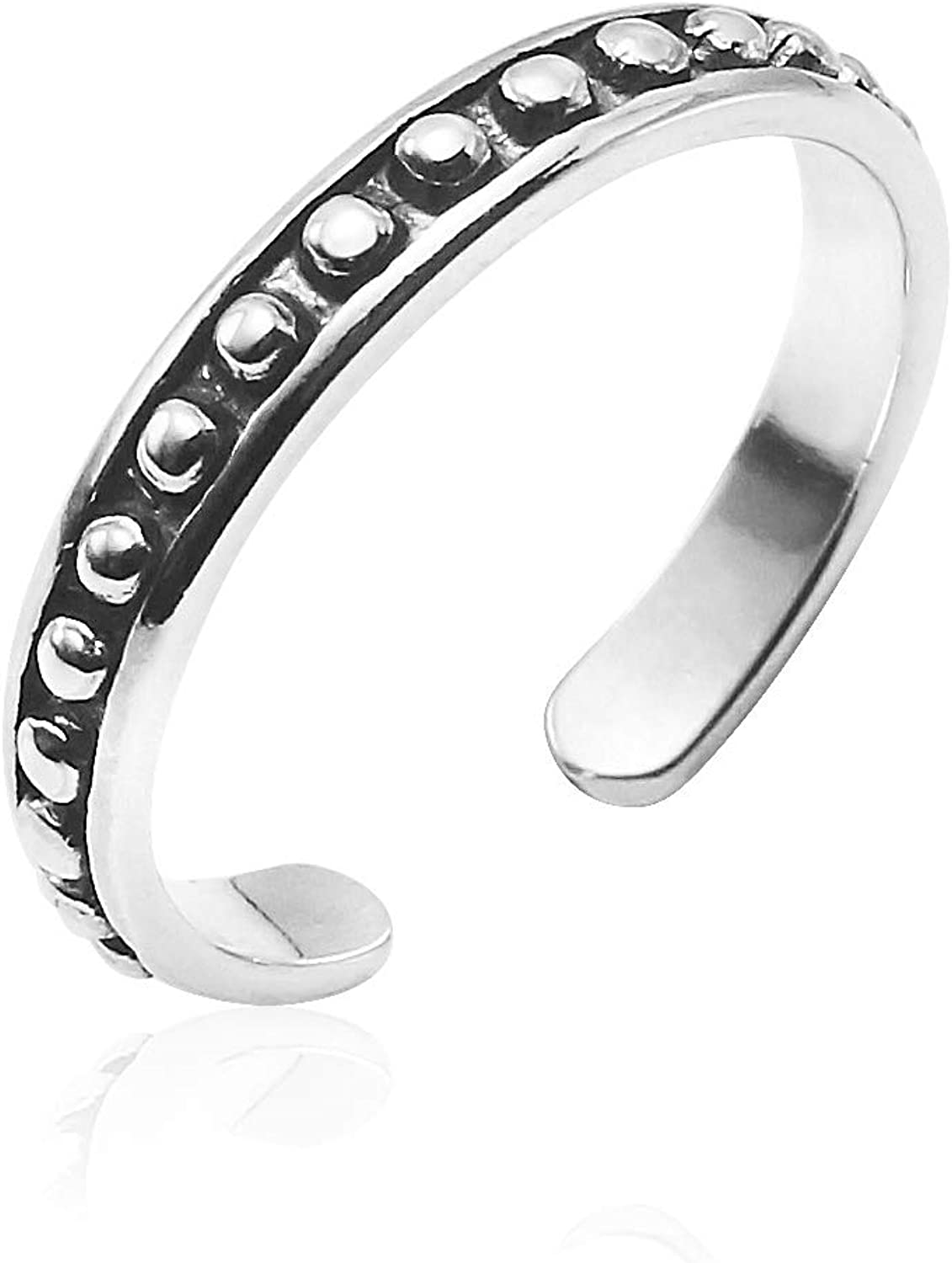 Dot Toe Ring Made from Genuine Solid 925 Sterling Silver Oxidized Finish Lightweight and Unique Design Big Apple Hoops