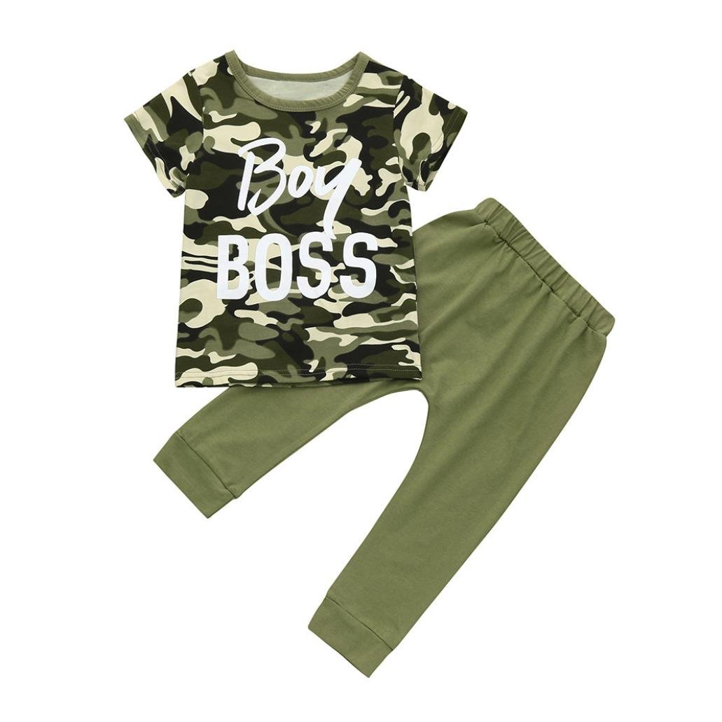 LNGRY Baby Clothes Toddler Baby Boys Boss Girl Boss Letter Camouflage T Shirt Tops+Pants Outfits Clothes Set