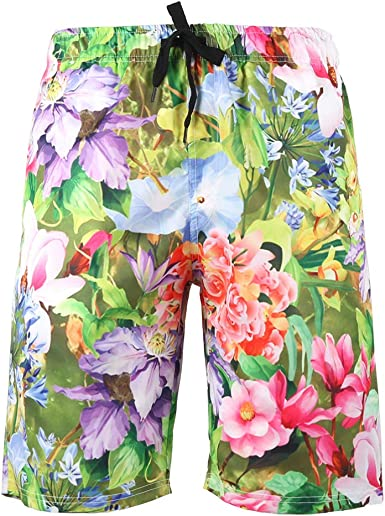 Men Board Shorts Swim Trunks Petal Roses Drawstring Elastic Waist Surfing Beach Summer Outfit Pants