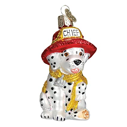 Amazon.com: Old World Christmas Ornaments: Dalmatian Pup Glass Blown ...