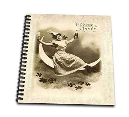 3drose image of lady on moon on french new year card drawing book 12 x