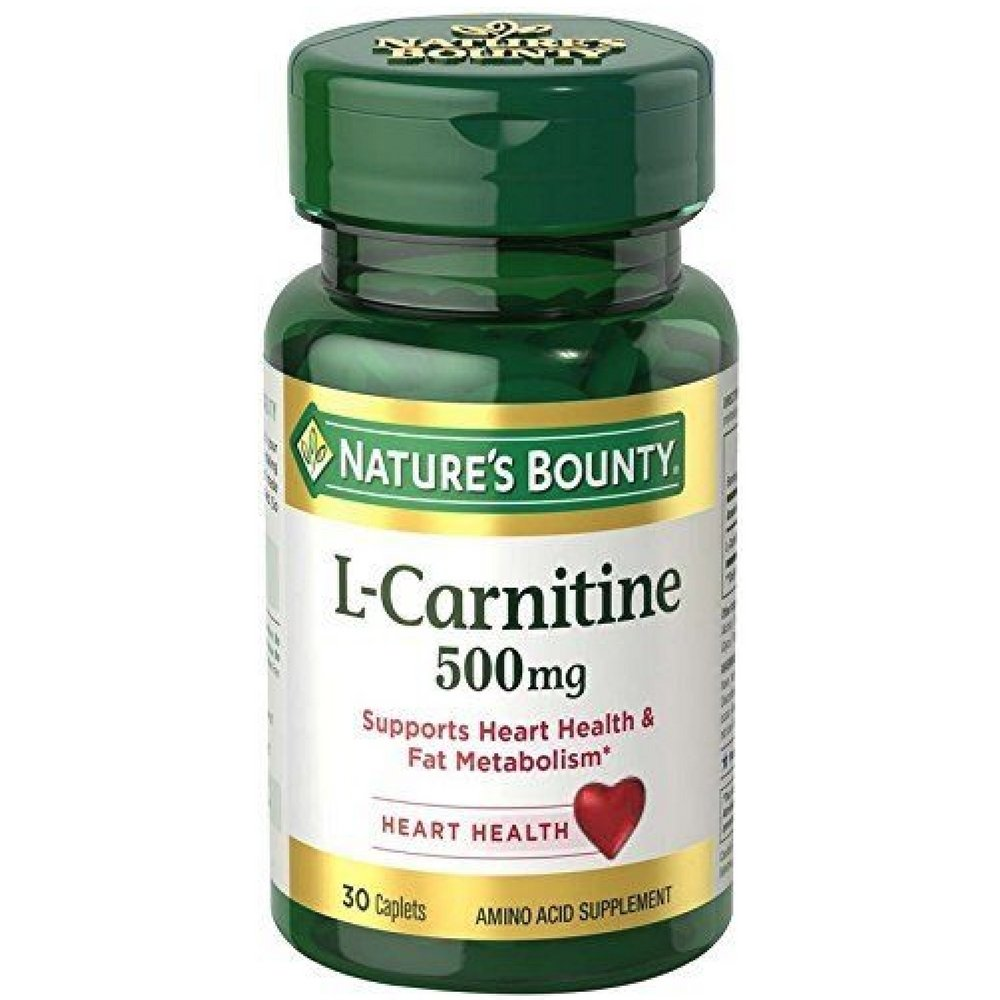 Nature's Bounty L-Carnitine 500 mg 30 Caplets (Pack of 3)