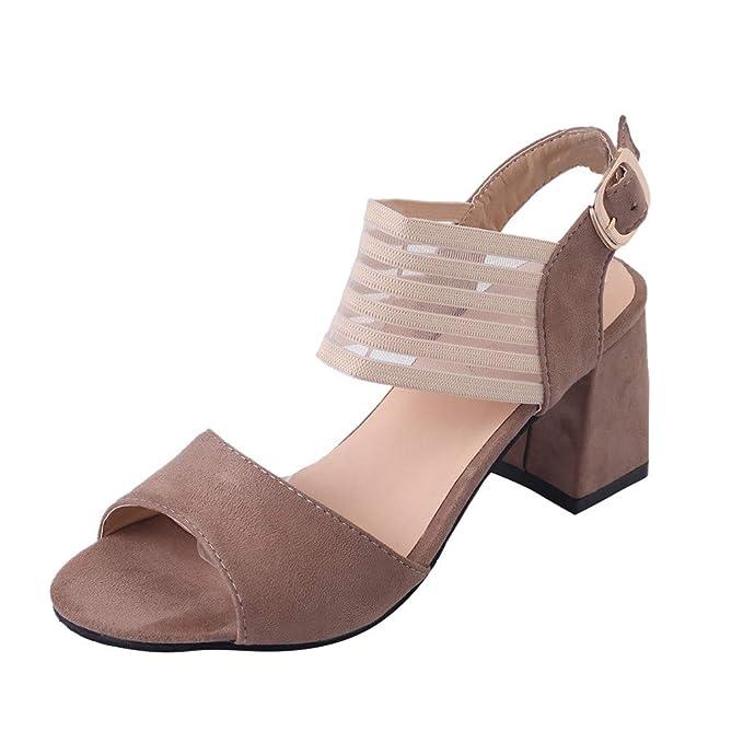 Rcool Zapatos de tacón zapatos de tacón alto mujer zapatos de tacón transparentes,Sandalias de moda con boca de pescado antideslizante con hebilla abierta ...