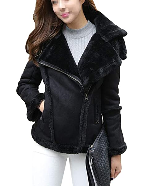 0a3f824f4c7 Rrive Women Winter Moto Biker Fleece Linen Faux Suede Lapel Jacket Coat  Black XS