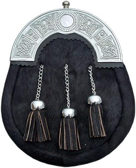 Black Cowhide 3 Tassel Leather Kilt Sporran & Bel