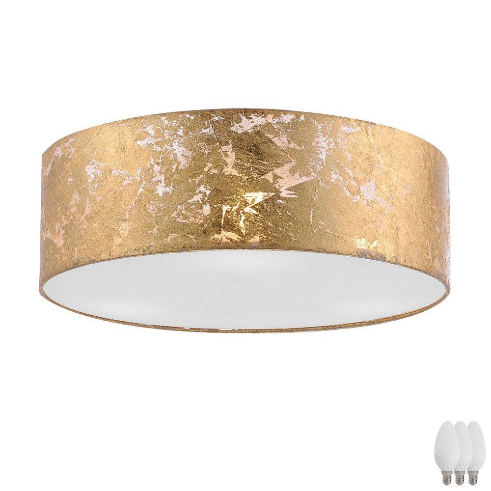 Decken Leuchte Gold Textil Schirm Esszimmer Pendel Lampe Strahler im Set inkl. LED Leuchtmittel