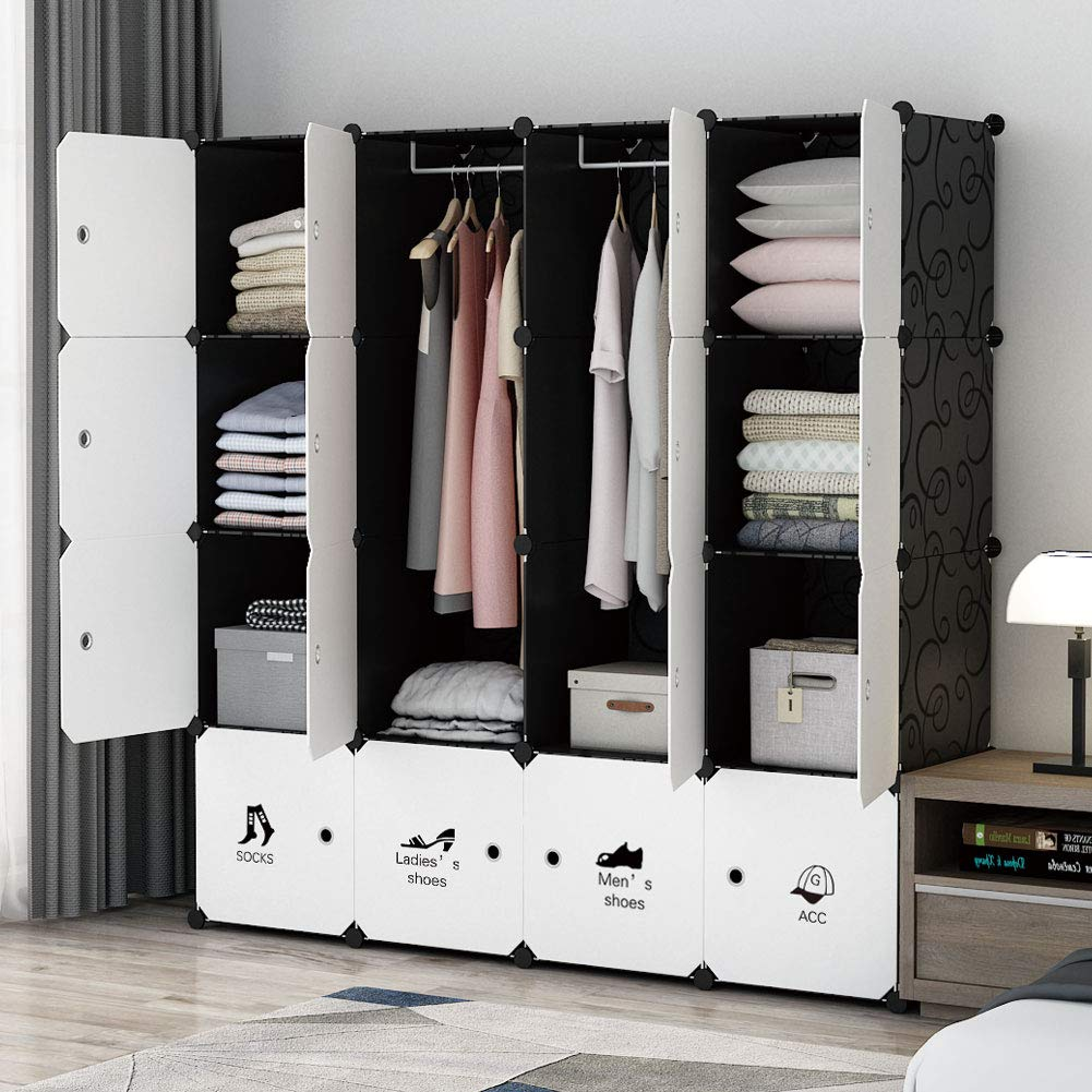 MAGINELS Portable Modular Wardrobe, Bedroom Armoire ,Hanging Clothes Closet Storage Organizer ,Cubby Shelving Unit Dresser ,Multifunction Cabinet DIY Furniture (8 Cubes & 4 Hanging Sections)