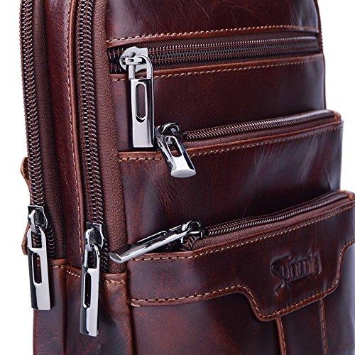 Sunmig Men's Vintage Genuine Leather Shoulder Bag Messenger Bags (brown-3803) by Sunmig (Image #5)