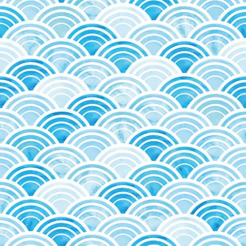 WallsByMe Peel and Stick Blue and White Circles Geometric Removable Wallpaper 8855-2ft x 4ft (61x122cm) - WallFab - 7mil