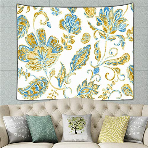 DWone Hat Paisley Watercolor Floral Tile Flowers The Arts Tapestry Bohemian Wall Hanging, Psychedelic Wall Art, Dorm Décor, Wall Tapestries Art ()