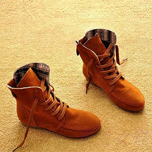 TOOGOO(R) Autumn Boots Snow Boots for Women Martin Boots Suede Leather Boots size6.5 light tan