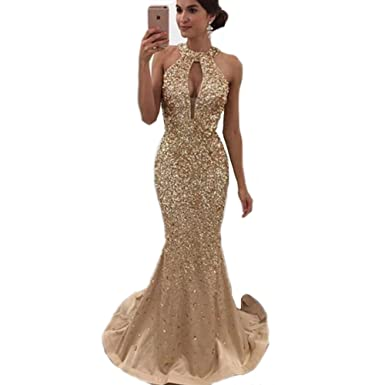 Modeldress Sexy Brilliant Mermaid Prom Dresses Backless Evening Gowns 2018Gold-US2