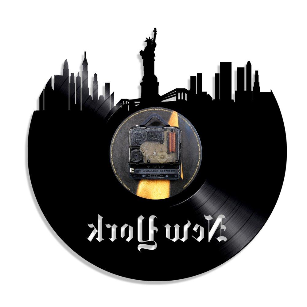 CNCN Horloge Murale color/ée en Vinyle 1 Pi/èce Statue de la Libert/é New York Horloge USA Patriot Cadeau New York Paysage Urbain Horizon Mur Art Vinyl Record LP Horloge