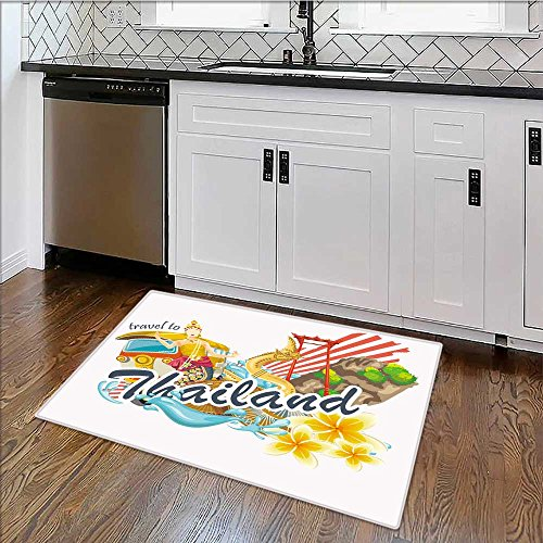 Rug Easy to Clean, Durable travel thailand landmarks thai vector icons vacations poster Rug for Kitchens W39'' x H20'' by alsoeasy