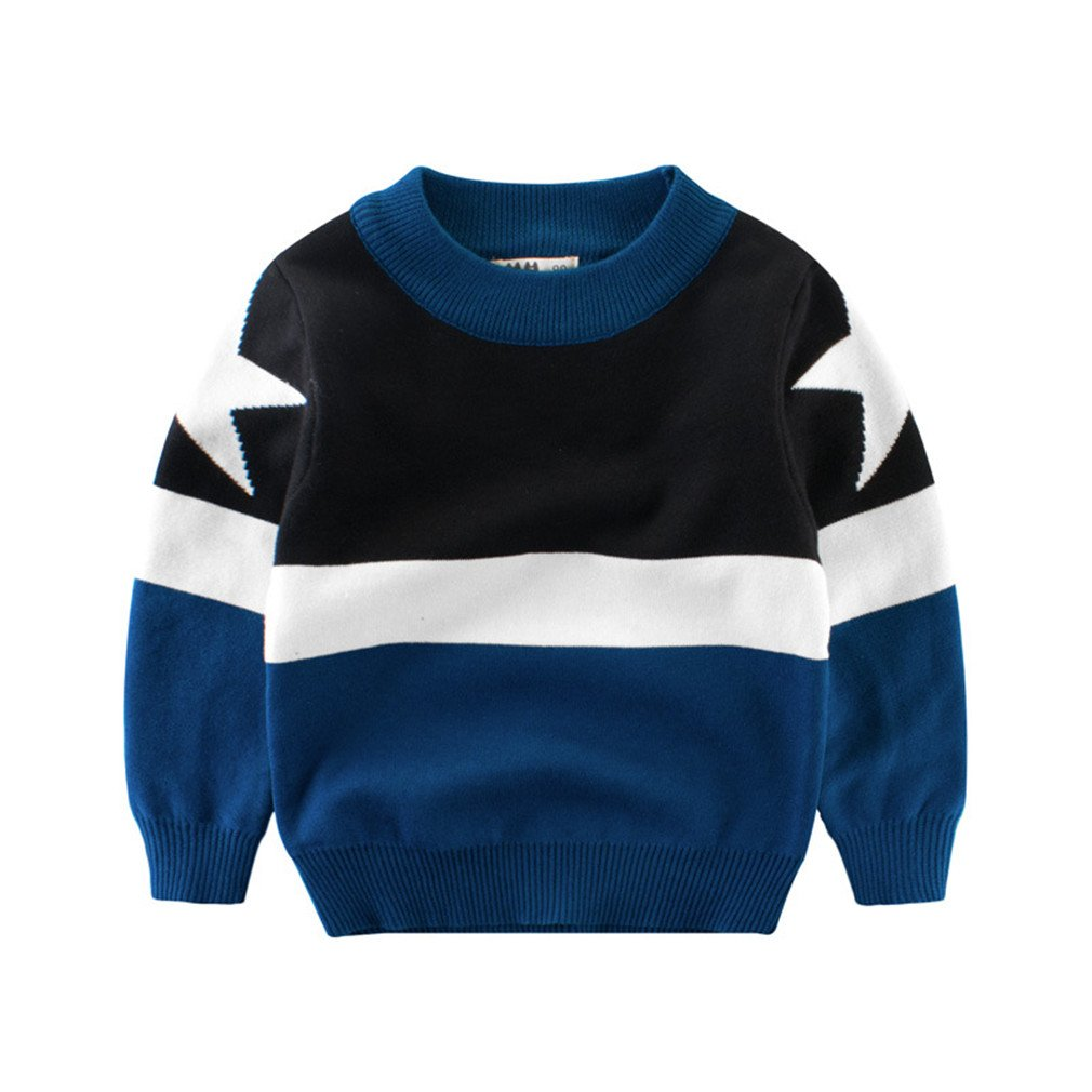 Winyersnow Boys Sweater Star Sweater Pullover Children's Clothing Blue 10T