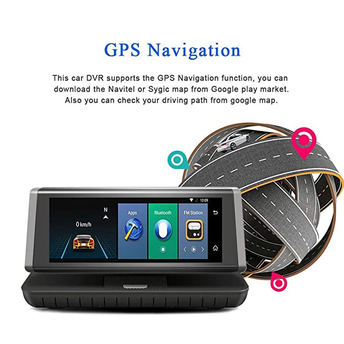 Amazon.com: 8-inch Touch Auto Car DVR 4G Android WiFi GPS Video Recorder Dual Lens HD Dash Cam Support Micro SIM TF Card: Car Electronics
