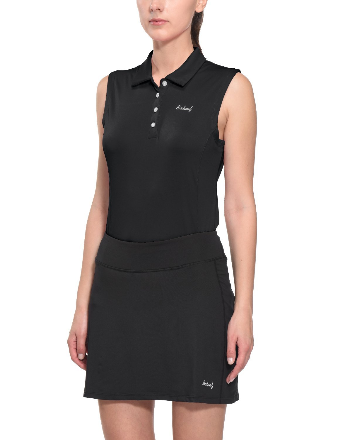 Baleaf Women's Quick Dry Performance Sleeveless Polo Shirts UPF 50+ Black Size L