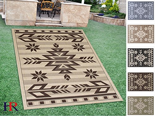 Southwestern Patio Furniture - Handcraft Rugs Indoor/Outdoor area Rug with Traditional Southwestern Design Beige and Chocolate (7 ft. by 10 ft.)