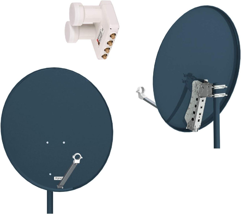 Opticum QA 80 de Acero Antena satelital, Color: Antracita ...