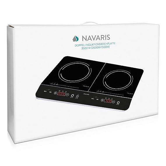 Navaris Placa de inducción portátil - Vitrocerámica 2 Fuegos eléctrica 3500W - Vitro con Control táctil Temporizador y Bloqueo de Seguridad