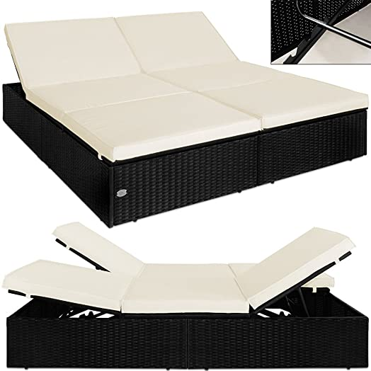 Gartenliege rattan schwarz  Poly Rattan Garden Furniture Double Sun Lounger Black Day Bed Sofa ...