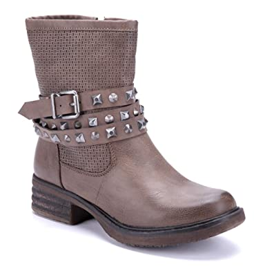 fd61dfc9beaeb7 Schuhtempel24 Damen Schuhe Boots Stiefel Stiefeletten Khaki Blockabsatz  Schnalle Nieten Used Look 4 cm