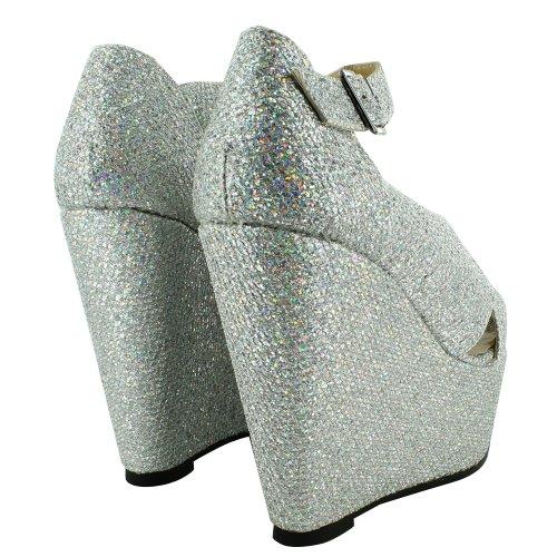 Footwear Sensation - punta abierta de sintético mujer Plata - plata