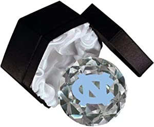 NCAA North Carolina University Tarheels Logo on a 4-Inch High Brillance Diamond Cut Crystal Paperweight