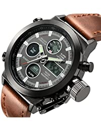 Fashion Leather Men's Military Watches Multifunctional Digital Watch Men Sports Watch